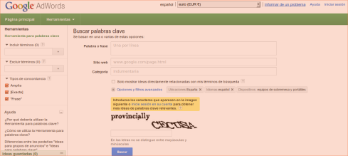 Herramienta SEO Google adwords tool