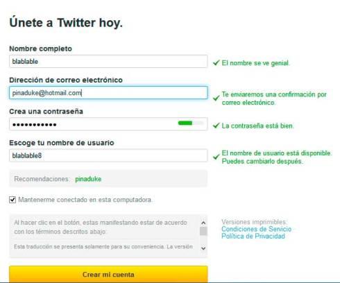 creación cuenta en Twitter